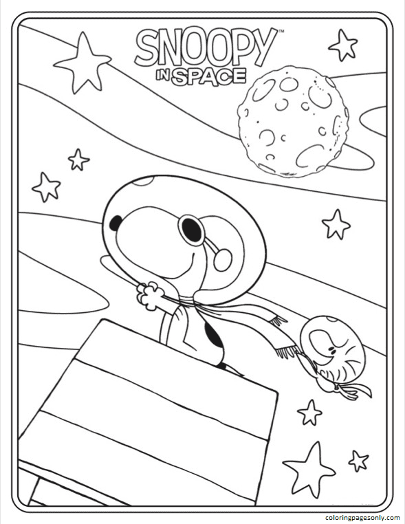 Snoopy In Space Sheet 2 Coloring Page