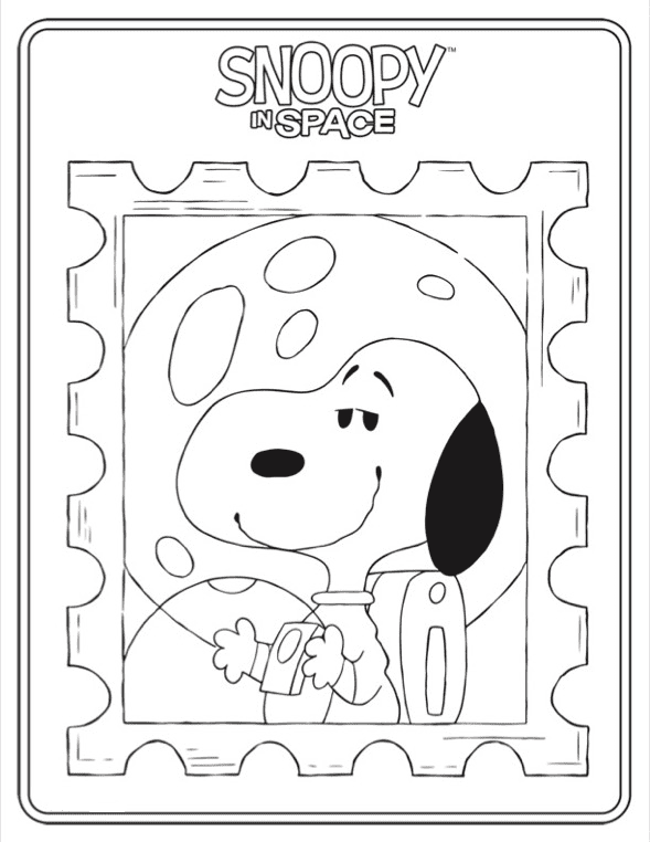 Snoopy In Space Coloring Page