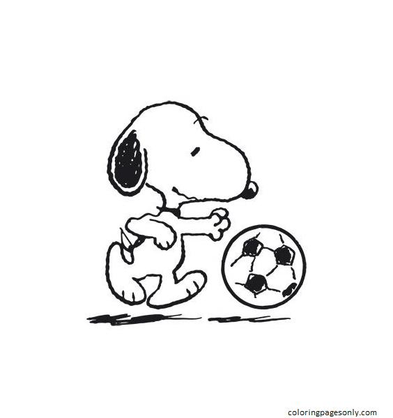 Snoopy kicks the ball Coloring Page