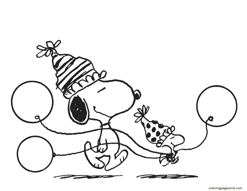 Snoopy Woodstock Balloons Coloring Page