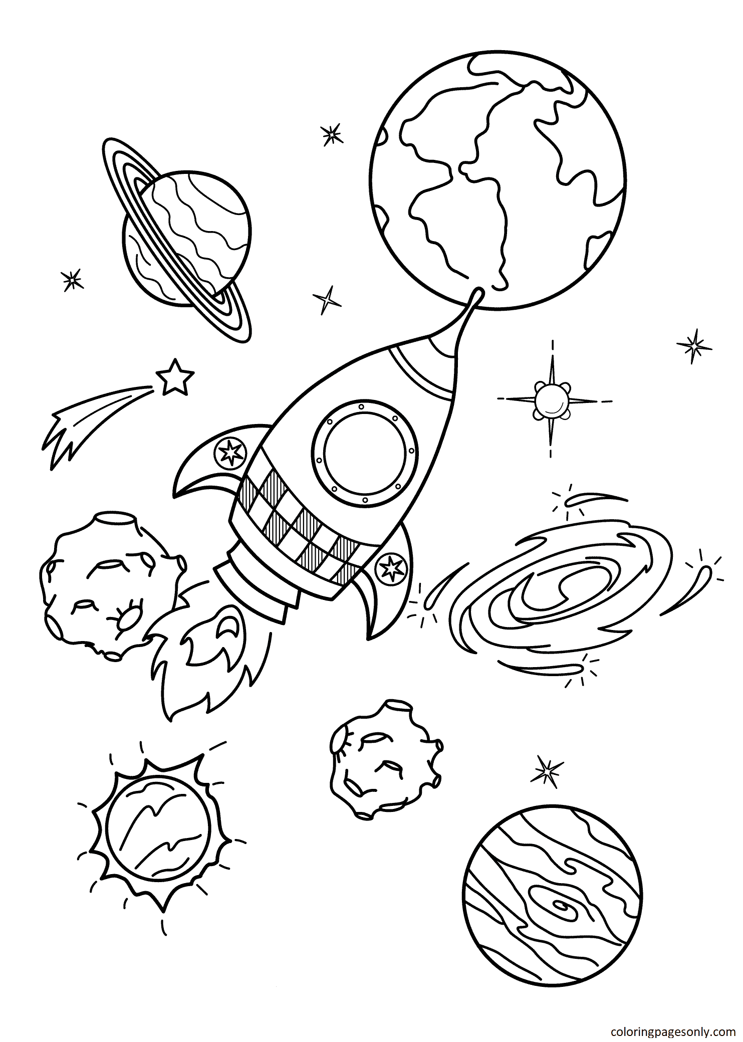 Space Rocket 1 Coloring Page