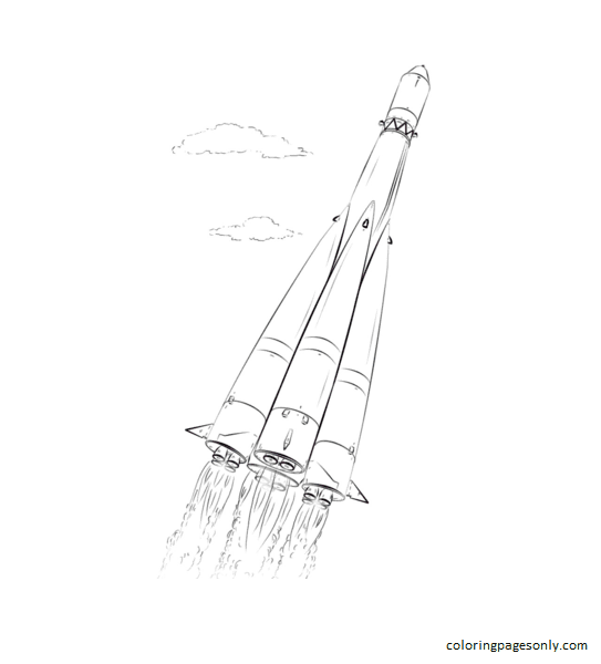 Space Rocket 2 Coloring Page