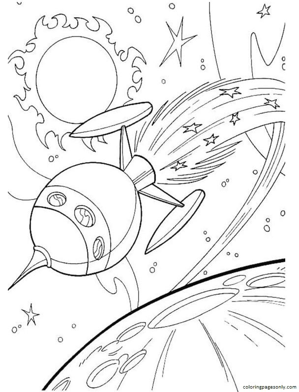 Space Rocket 4 Coloring Page