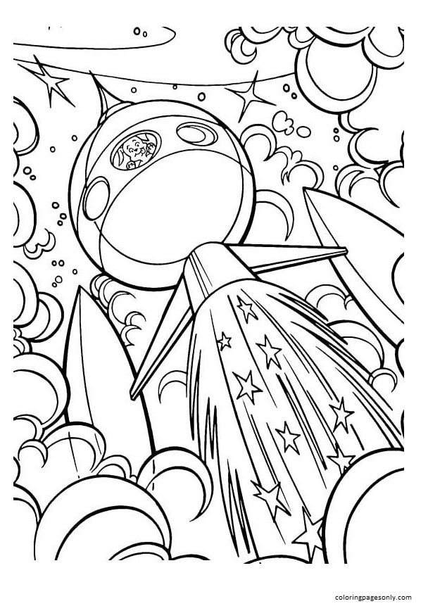 Space with Rocket 1 Coloring Page