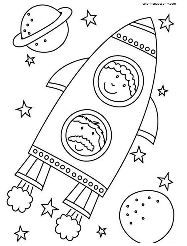 Space with Rocket 3 Coloring Page