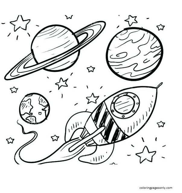 Space with Rocket 5 Coloring Page