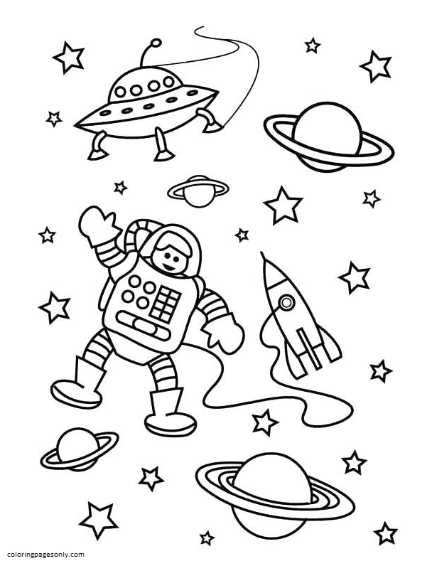 Space with Rocket 6 Coloring Page