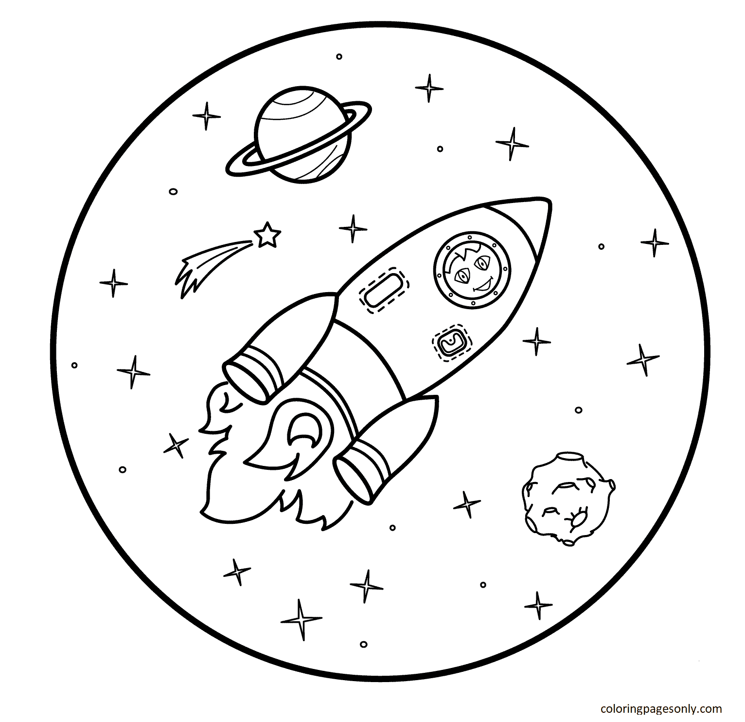 Space with Rocket Coloring Page