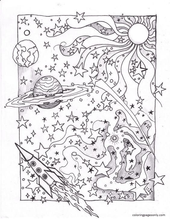 Spaceships Rocket Coloring Page