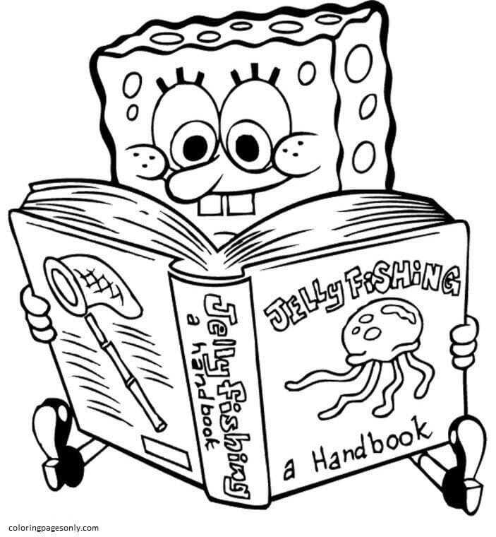 Sponge Bob Book Coloring Page