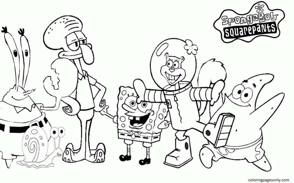 Spongebob And Friends 2 Coloring Page