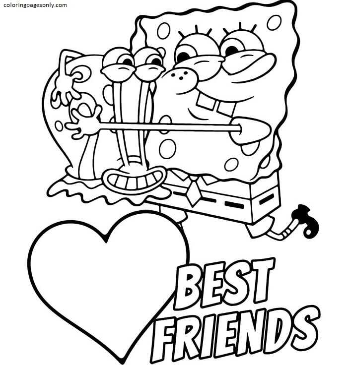 Spongebob and Gary 1 Coloring Page