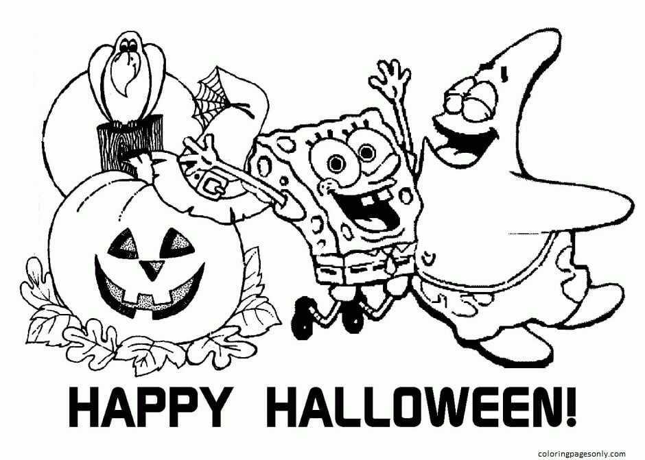 Spongebob And Patrick Happy Halloween Coloring Page