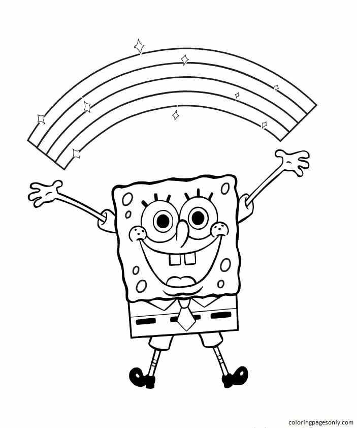 Spongebob Happy Coloring Page