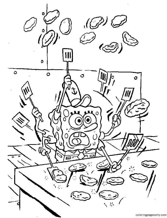 Spongebob is making krabby patties Coloring Page