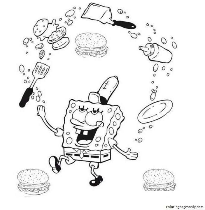 Spongebob Krabby Patty Coloring Page