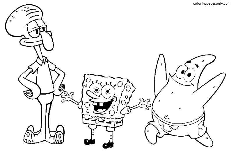 Squidward Tentacles, SpongeBob and Patrick Star Coloring Page