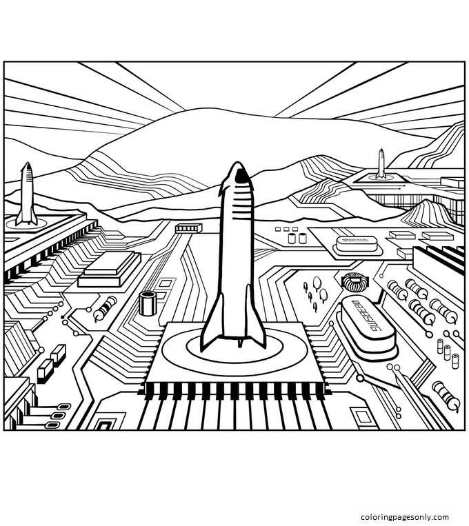 Starships on Mars Coloring Page