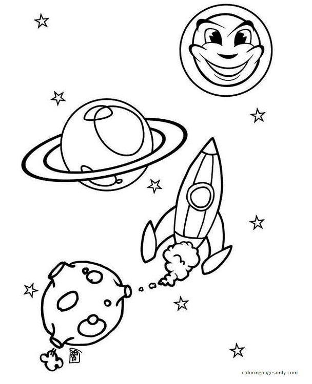 Sun Moon Rocket Ship Coloring Page