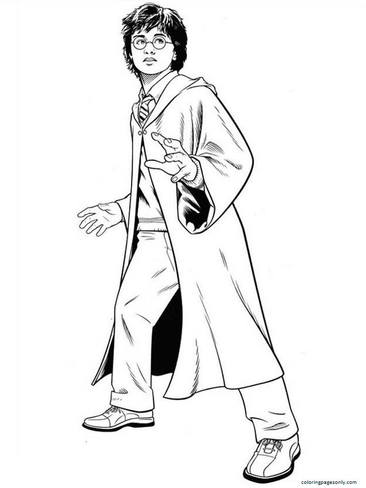 Surprised Harry Potter Coloring Page