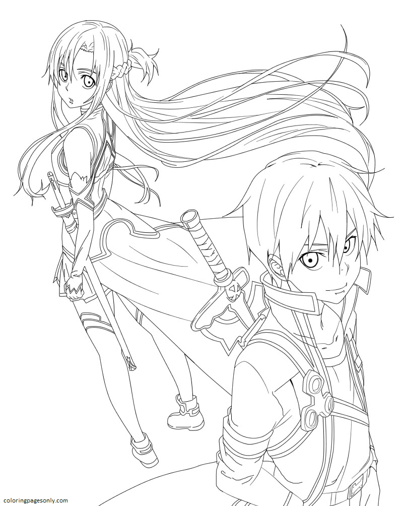 Sword Art Online Kirito And Asuna Coloring Page