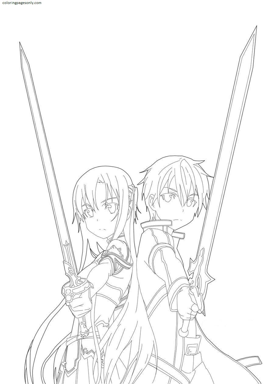 Sword Art Online Kirito x Asuna Coloring Page