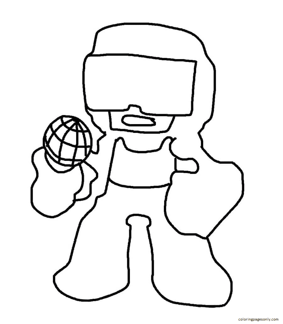 Tankman Friday Night Funkin Coloring Page