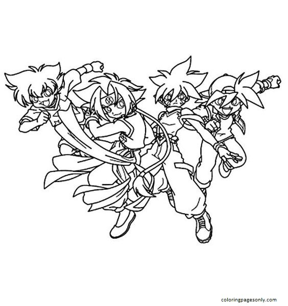 Team Fight Beyblade Coloring Page