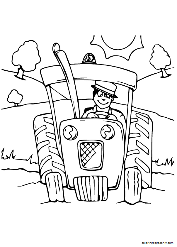 The Farmer On Tractor Coloring Page