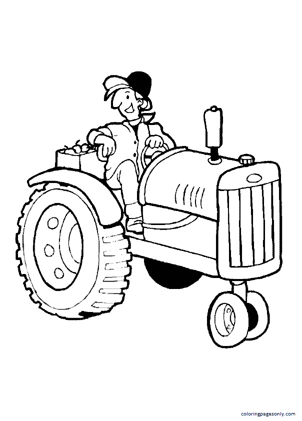 The Funny Farmer On Tractor Coloring Page