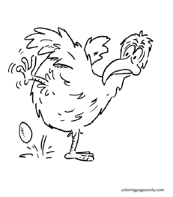 The Hen laid an egg Coloring Page