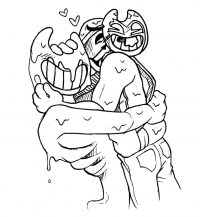 The Ink Bendy hugs the human with Bendy mask in Bendy and the Ink Machine Coloring Page