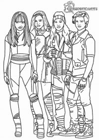 The main characters from Descendant movie Coloring Page