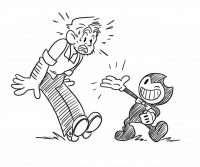 The man surprises when talking to Bendy from Bendy and the Ink Machine Coloring Page