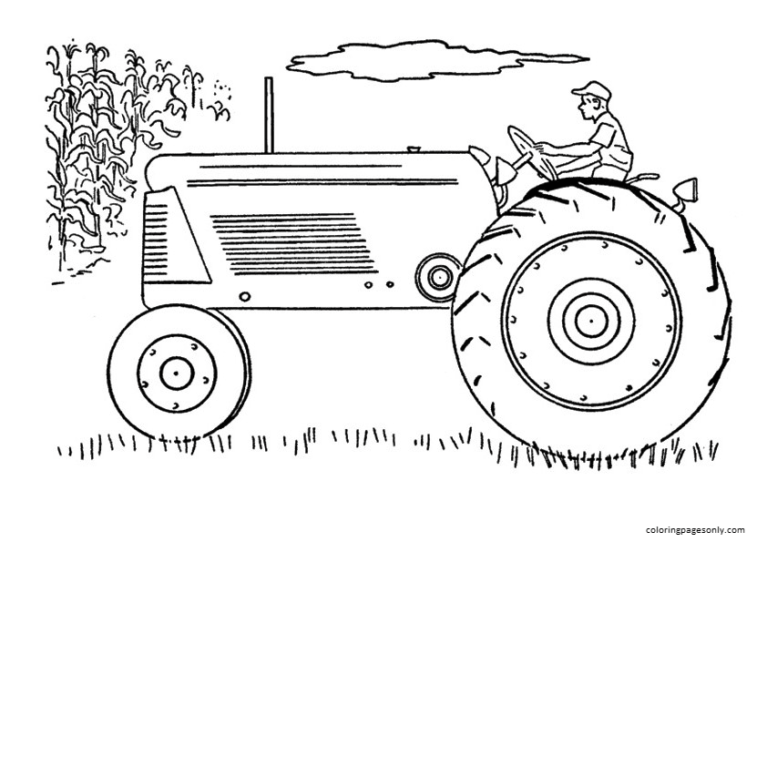 The Side Tractor Coloring Page