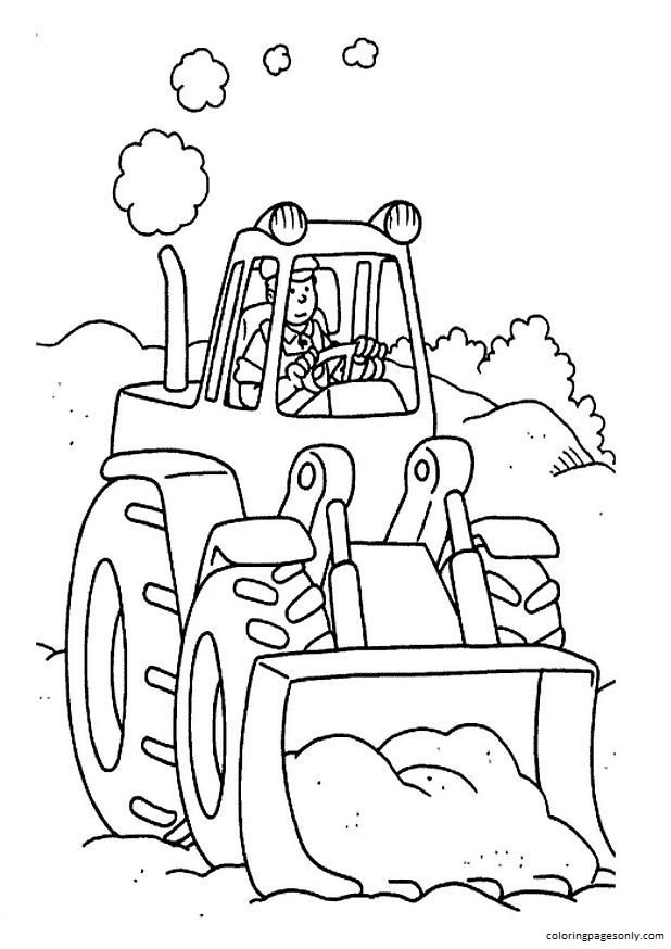 The Tractor Scooping Coloring Page