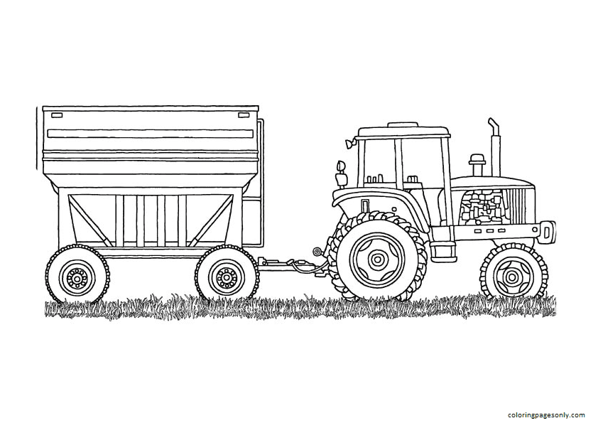 The Tractor with Crane Coloring Page