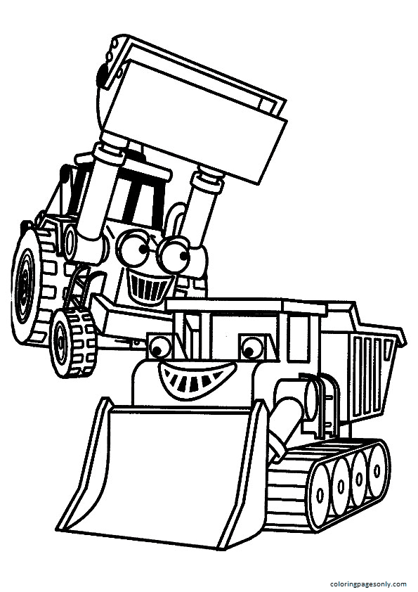 The two trucks with eyes Coloring Page