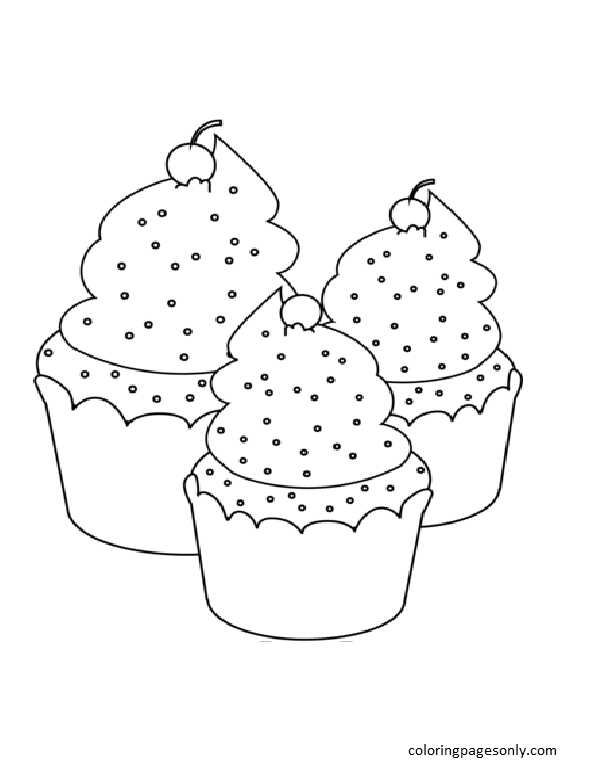 Three Cupcakes Coloring Page
