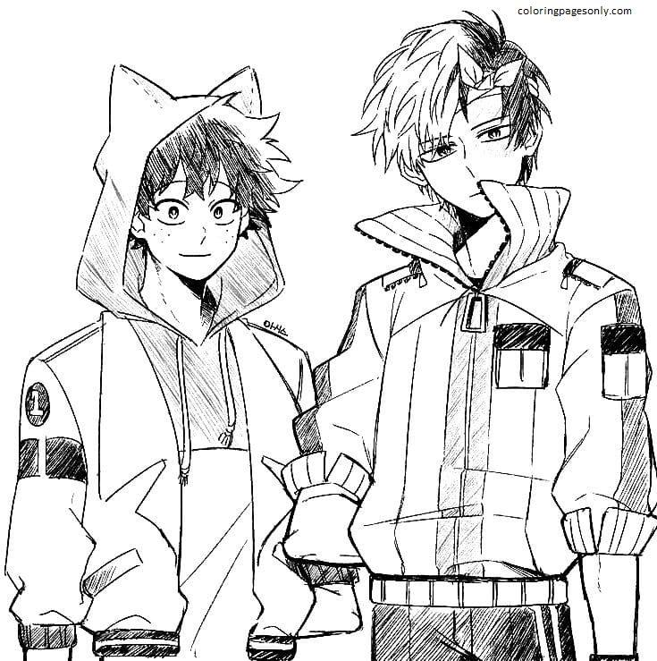 Todoroki and Midoriya Coloring Page