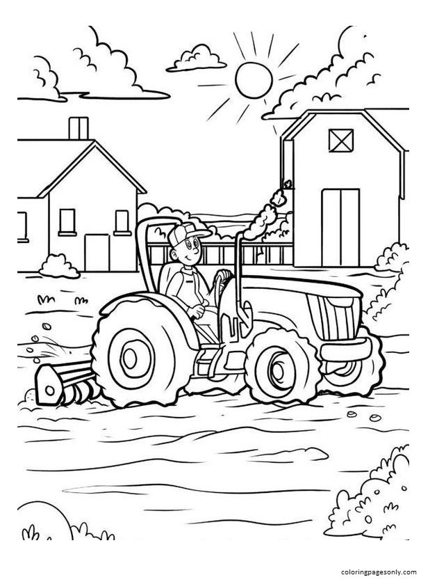 Tractor 2 Coloring Page