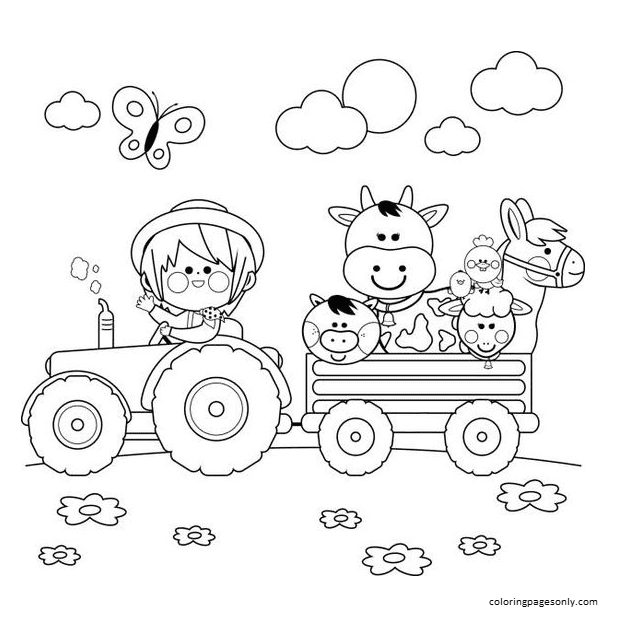 Tractor 6 Coloring Page