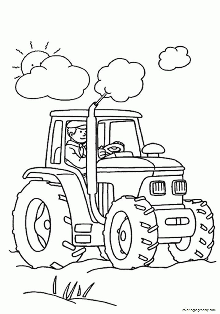 Tractor In Anopen Field Coloring Page