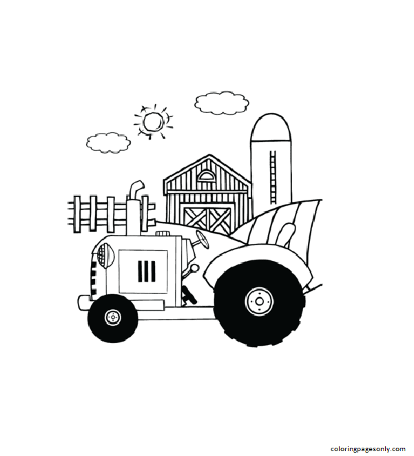 Tractor on a Farm Coloring Page