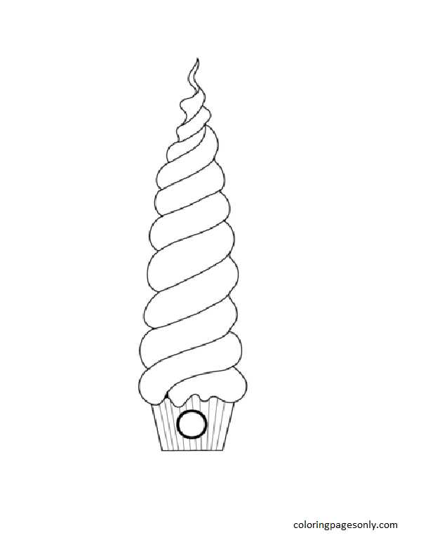 Tree House Cupcake Coloring Page