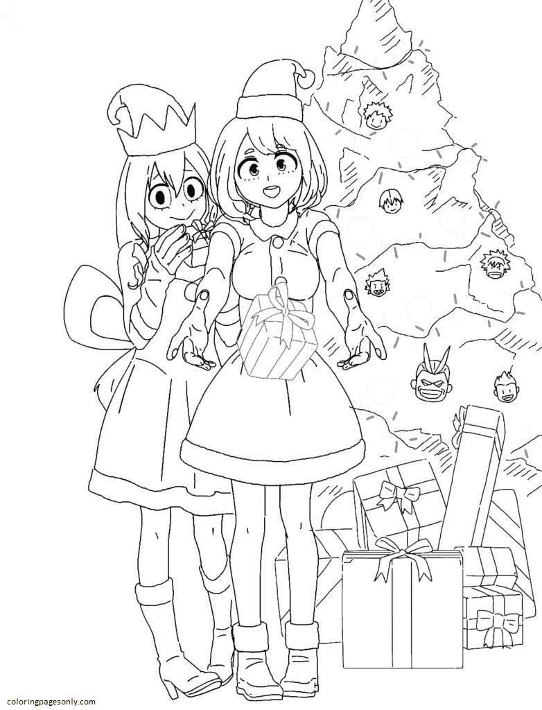 Tsuyu Asui and Ochaco Uraraka Christmas Coloring Page