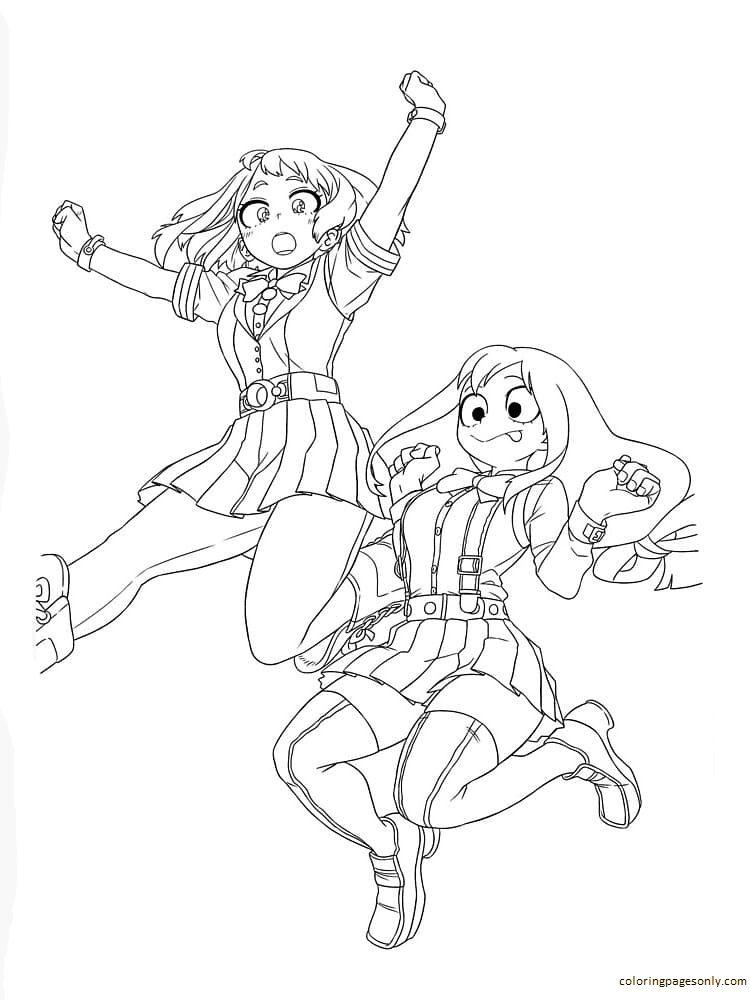 Tsuyu Asui and Uraraka Coloring Page