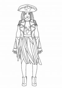 Uma from Descendants movie is a captain of her crew of pirates Coloring Page