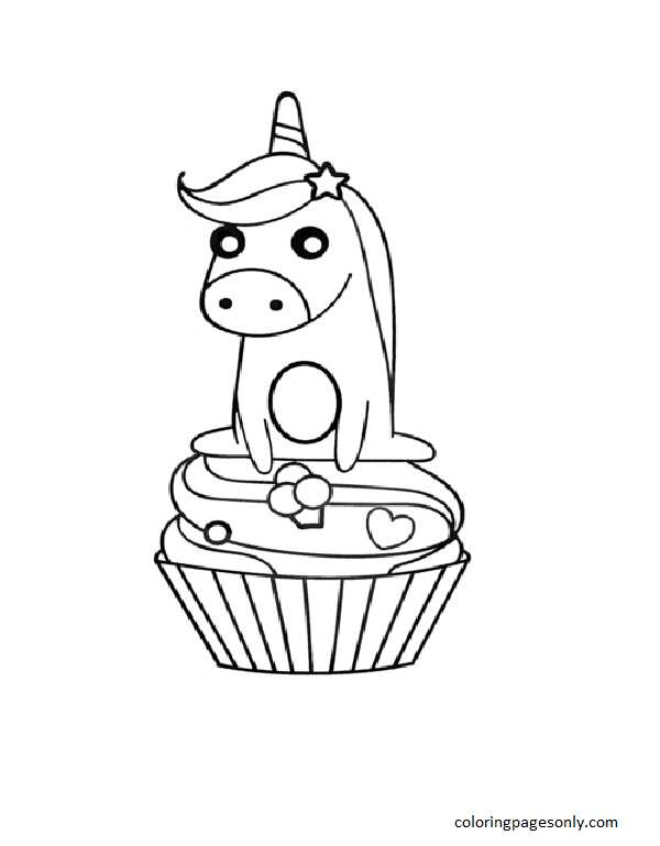 Unicorn on Cupcake Coloring Page