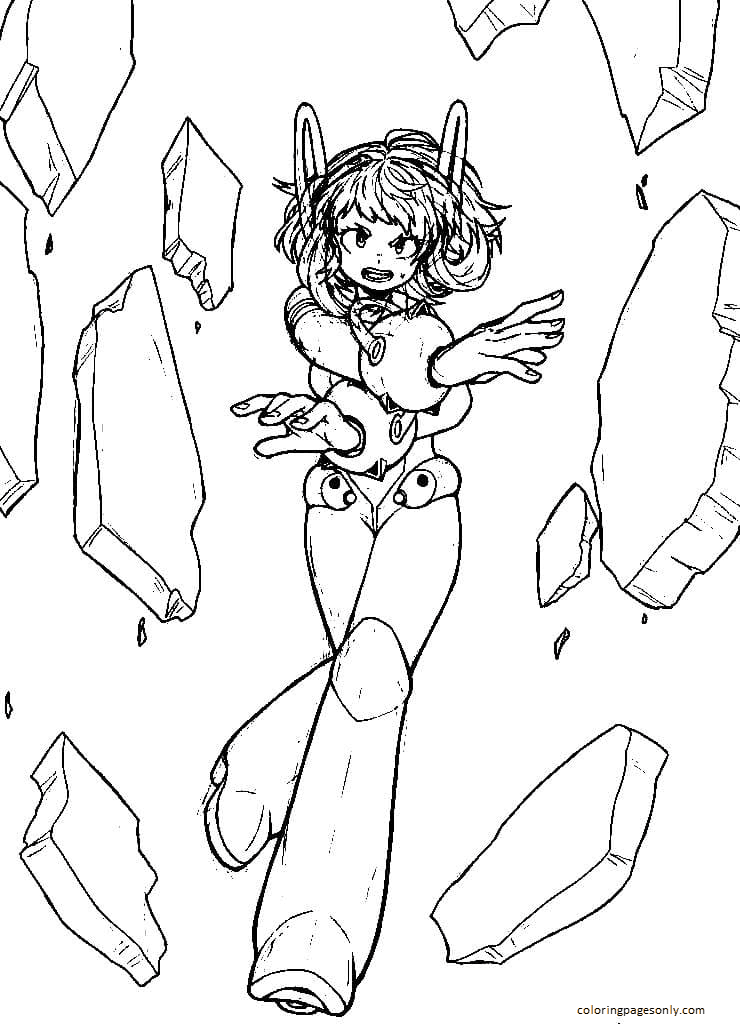 Uraraka from My Hero Academia 1 Coloring Page